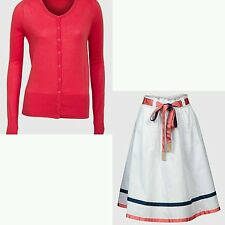 Ladies Skirt  Summer Size 8 10 12 14 16 18 Long Sleeve Red Cardigan Outfit