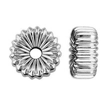 .925 Sterling Silver Flat Fluted 2 hole Hollow Spacer Beads Corrugated Findings