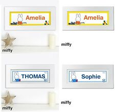 Personalised Miffy Character Name Wooden Picture Frame Baby Nursery Bedroom Gift