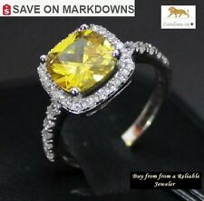 Gorgeous Canary Yellow CZ Cushion Cut 925 Silver Ring