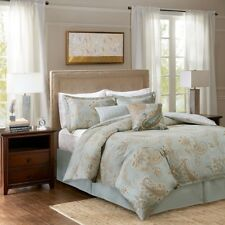 Luxury 6pc Sage Green & Taupe Paisley Cotton Comforter AND Decorative Pillows