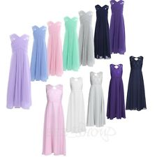New Flower Girl Sleeveless Chiffon Long Kids Wedding Bridesmaid Party Maxi Dress