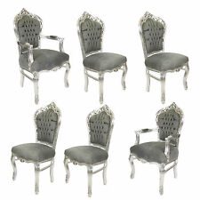 4 + 2 FRANCE ROYAL BAROQUE STYLE DINING CHAIRS - GREY