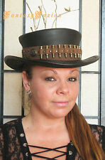 Steampunk Hat Time Hunter Post-Apocalyptic Bullets Leather SHORT Top Hat no.2