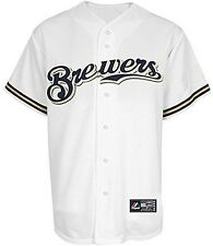 Milwaukee Brewers Mens Majestic White Replica Baseball Jersey Big & Tall Sizes