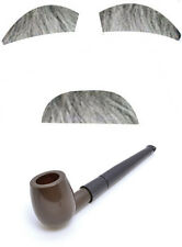 Fancy Dress Old Man Set Eyebrows Moustache and Smoking Pipe Grey Stick On Hair
