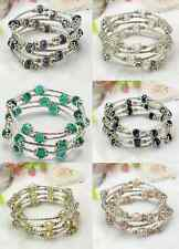 GLASS BEAD AND SILVER adjustable wrap bracelet