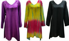 PLUS SIZE HIPPIE BOHO SUMMER ASYMMETRIC HEM EMBROIDERED V - NECKLINE TUNIC DRESS