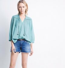 NWT Zadig & Voltaire Toho Cotton ¾ Sleeve Embroidered Tunic/Shirt/Top Beads- MED
