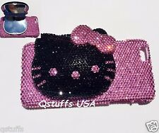 3D hello kitty Compact mirror crystal bling diamond cover fits iPhone case glitt
