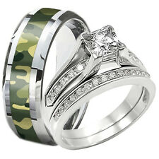 3 PC Solid 925 Sterling Silver CZ Wedding Ring Set Camouflage Tungsten Camo Band