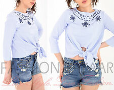 Womens Embroidered Blue Stripe Front Knot Tie Casual Holiday Blouse Summer Top