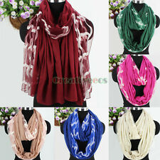 Women's Wave Shape Embroidery Tulle Soft Cotton Long Shawl/Infinity Loop Scarf