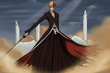 Poster Silk Bleach Kurosaki ichigo Japan Anime Boy Room Wall Cloth Print 96