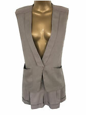 New Oasis Two Piece Suit Waistcoat Shorts Khaki Size 8 10 12 14 Summer Belted