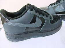 ORIGINAL BOYS NIKE AIR FORCE 1 BLACK GREY LEATHER LACE UP SPORTS CASUAL TRAINERS