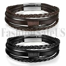 Multilayer Leather Bracelet Handmade Men Women Wristband Bangle Metal Buckle New