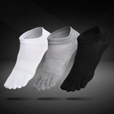 6 Pairs Mens Cotton Toe Five Finger Socks Solid Ankle Sport Breathable Low Cut D
