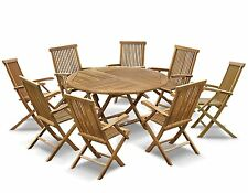 Lymington Grade-A Teak Outdoor Patio Set Folding Garden Table 1.5m x 8 Armchairs