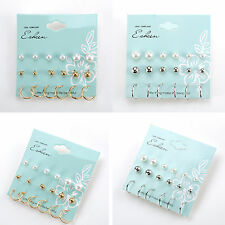 12 Pairs/Set Women Korean Flower Crystal Pearl Rhinestone Earrings Lady Ear Stud