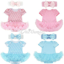 Newborn Baby Girls Cotton Romper Tutu Dress Headband Outfits 2Pcs Set Clothes