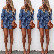 Women Off The Shoulder Mini Playsuit Ladies Summer Shorts Jumpsuits Playsuits
