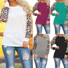 Fashion Women Long Sleeve Leopard Print Loose T-Shirt Ladies Tops Blouse new