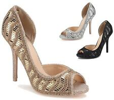 NEW LADIES HIGH HEEL PROM DIAMANTE SHIMMER PLATFORM PEEPTOE SANDALS SHOES SIZE