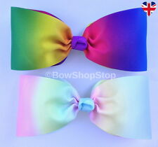 "7"" Large Rainbow Hair Bow Elastic Bobbles Hair Clip Cheerleader"