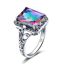 Mystic topaz Rings 925 Sterling Silver Ring Rainbow Gemstone Vintage Jewelry