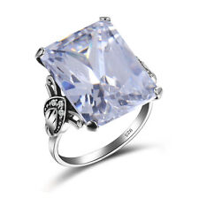 925 Sterling Silver White Topaz Birthstone Rings square Cubic Zirconia Jewelry