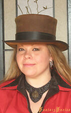 Steampunk Hat Victorian Leather Standard Top Hat with Band 2 Tones