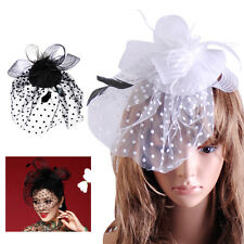 New Lady Top Net Mesh Hat Fascinator Hair Clip Wedding Church Party Veil Feather