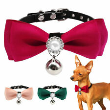 Cute Bow Tie Dog Collars Cat Puppy Necklace Rhinestone with Bell for Chihuahua S
