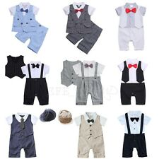 Toddler Baby Kids Boy Wedding Formal Suit Bowtie Romper Gentleman Tuxedo Outfit