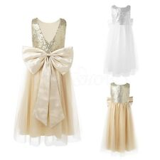 Kids Sequins Flower Girl Dress Big Bow Party Gown Recital Bridesmaid Tulle Dress