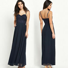 Women Sexy Straps Long Maxi Dress Embroidery Chiffon Layered Party Cocktail Gown