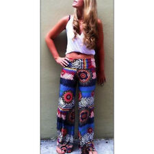Hot Women Trend Multi Color Abstract Art Print Fold Over Wide Leg Palazzo Pants