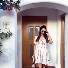ZARA NEW FLORAL EMBROIDERED WHITE T SHIRT DRESS FRILLED ASYMMETRIC SIZE XS-XL
