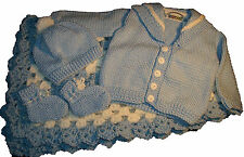 """Sweater Set With Matching Crib Size  Blanket 40"""" x 40"""" For Age NB - 12M"""