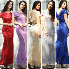 Women Sequin Long Dress Bridesmaid Evening Party Cocktail Prom Formal Ball Gown