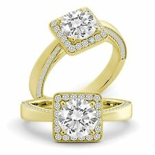 Diamond Engagement Ring Round Cut Natural GIA Certified 18k Yellow Gold 2.05 tcw