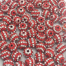 10MM Red Stripe Micro Pave Crystal Disco Ball Shamballa Beads Bracelet Spacer