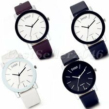 Fashion Casual Dial Leather Band Watches Mens Womens Quartz Analog Wrist Watch