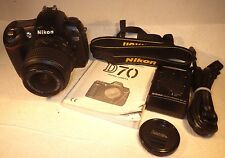 NIKON D70 DIGITAL SLR CAMERA WITH 18-55mm AF-S NIKKOR LENS, MANUAL,STRAP,CHARGER