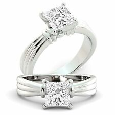 Solitaire Diamond Engagement Ring Princess GIA Certified 1.25 ct  14k White Gold