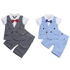 Baby Boy Kids Gentleman Outfits Suit Tie Short Sleeve Shirt Shorts Pants Clothes