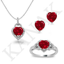 4.10 Ct Heart Ruby & Real Diamond Pendant Ring & Earrings Set 14k Solid Gold