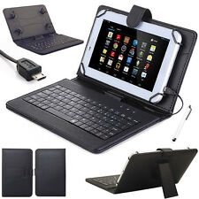 US For 7'' 8'' 10'' Tablets Micro USB Keyboard with PU Leather Case Cover+Stylus