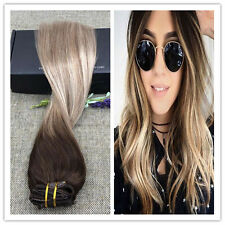 20 inch Clip in Hair Extensions Balayage Hair Brown Ombre Full Head 10Pcs Set